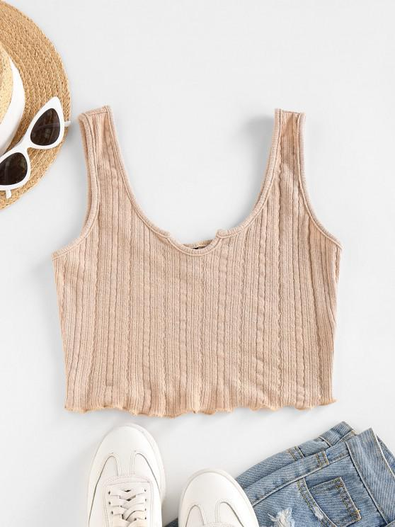 shops ZAFUL Lettuce Trim Notched Knitted Crop Top - LIGHT COFFEE M