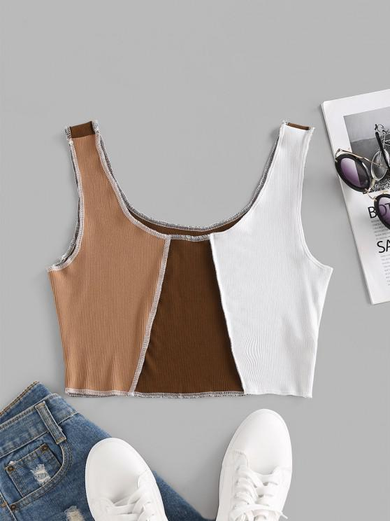lady ZAFUL Colorblock Topstitching Crop Tank Top - LIGHT COFFEE S