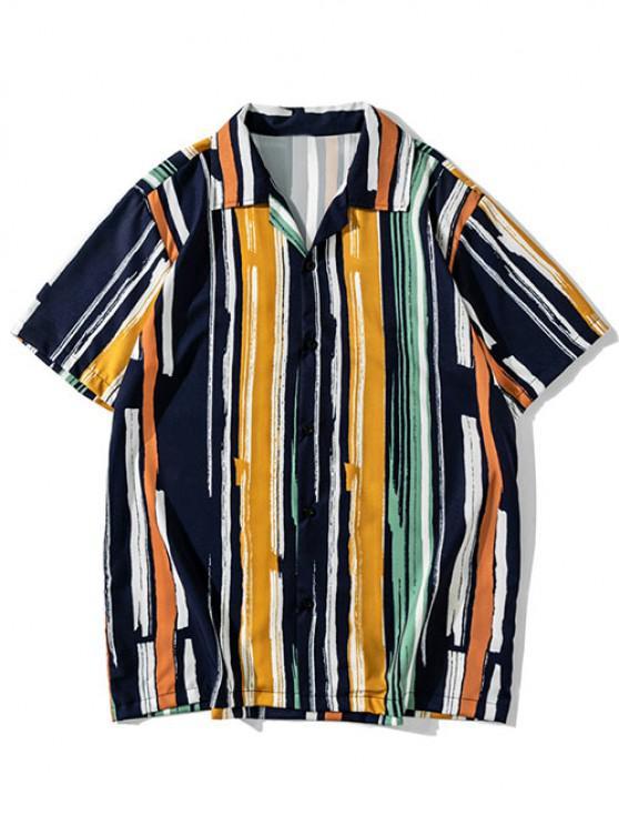 hot Colorful Stripes Print Button Up Shirt - CARAMEL XXL