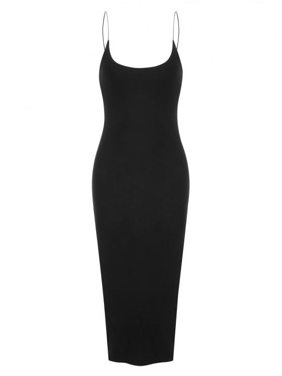 Bungee Strap Slit Midi Dress - أسود S