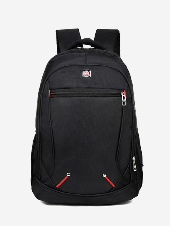 hot Travel Contrast Stitching Backpack - BLACK