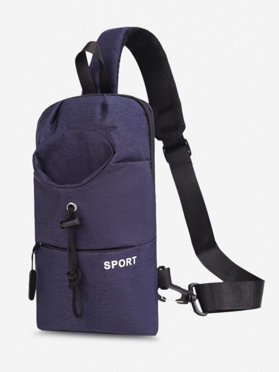 Sport Zipper Solid Chest Bag - أزرق