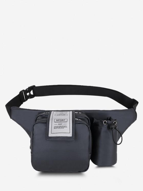 Multi-functional Pockets Letter Label Chest Bag - اللون الرمادي