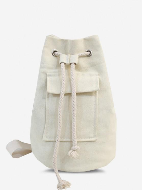 Canvas Unisex Drawstring Chest Bag - أبيض