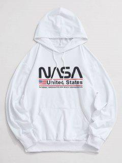Letter Graphic American Flag Pattern Kangaroo Pocket Hoodie - White L