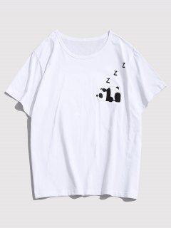Cartoon Panda Print Graphic T-shirt - White Xs