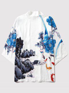 Blumen Berg Farbedruck Kimono - Milchweiß L