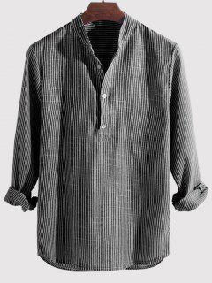Striped Print Half Button Kurta Long Sleeve Shirt - Gray 4xl