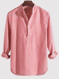 Camisa Manga Larga Estampado Rayado Medio Botón - Rosado M