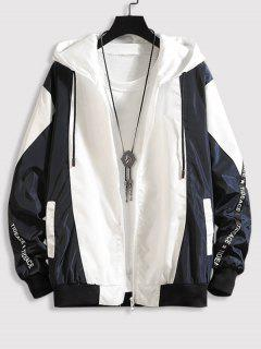 Hooded Letter Tape Contrast Jacket - Midnight Blue S
