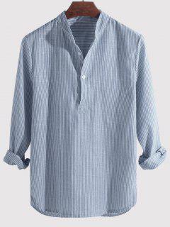 Striped Print Half Button Kurta Long Sleeve Shirt - Sky Blue Xl