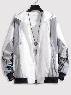 Hooded Letter Tape Contrast Jacket - Gray 3xl