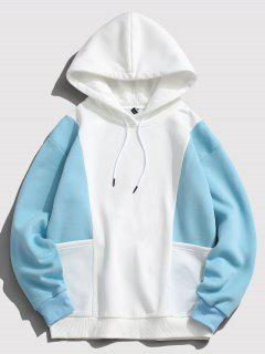 ZAFUL Contrast Double Pockets Fleece Hoodie - Light Blue M