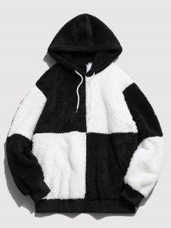 ZAFUL Drawstring Contrast Faux Fur Fluffy Hoodie - White Xl