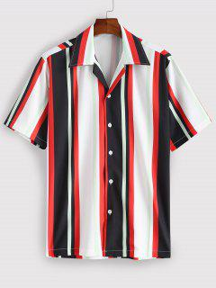 Striped Colorful Printed Short Sleeves Shirt - Red L