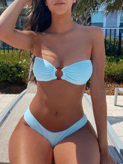 ZAFUL O Ring Tie Back High Leg Bandeau Bikini Swimsuit - Robin Egg Blue M