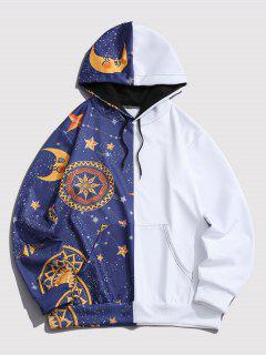 Kangaroo Pocket Moon Star Print Contrast Hoodie - Blue L