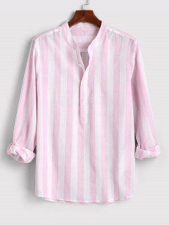 Color Blocking Stripes Half Button Shirt - Light Pink Xl