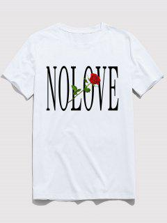 ZAFUL Flower Letter Print Short Sleeves T-shirt - White M