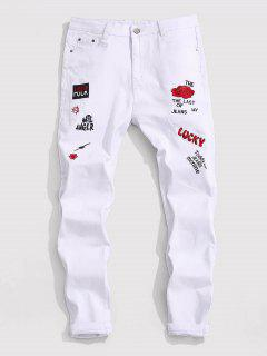 Floral Letter Embroidery Zipper Fly Casual Pencil Jeans - White 38