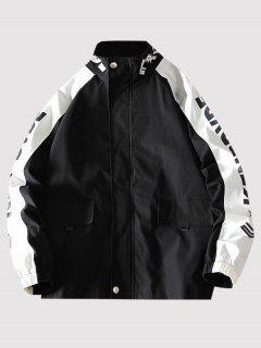 Letter Print Raglan Sleeve Zip Up Jacket - Black 2xl