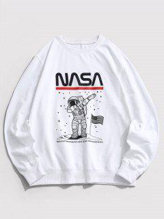 Sweat-shirt Astronaute Graphique Drapeau Américain à Col Rond - Blanc Xl