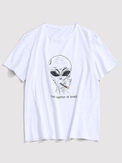ZAFUL Letter Cartoon Pattern T-shirt - White 2xl