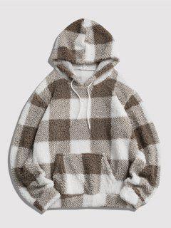 Flauschiges Kariertes Muster Hoodie - Weiß S