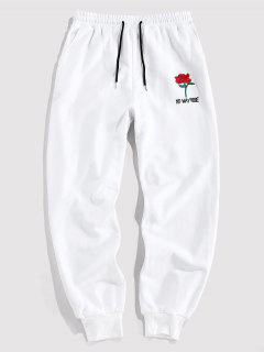 ZAFUL Rose Graphic Jogger Pencil Pants - White L