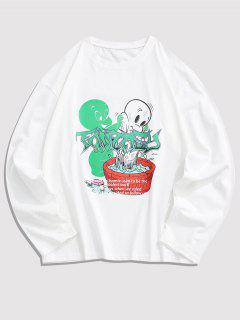 Long Sleeve Cartoon Graphic T Shirt - White L