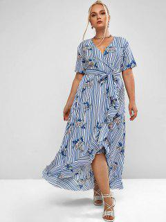 Plus Size Flower Striped Surplice Flounce Belted Dress - Blue Koi 3xl