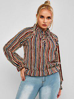 Plus Size Striped Ruffled Cuff Tied Pullover Blouse - Multi 3xl
