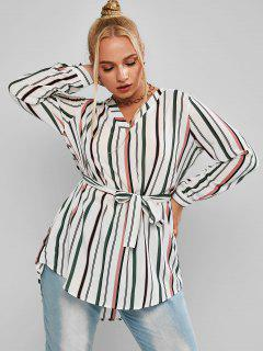 Plus Size Striped High Low Belted Round Hem Blouse - Multi 2xl