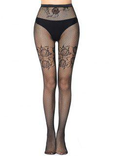 Jacquard See Thru Stretch Fishnet Tights - Night