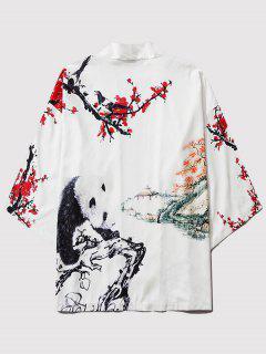 Panda Flower Paint Print Open Front Kimono Cardigan - Milk White L