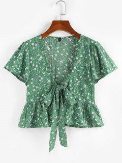 ZAFUL Flower Butterfly Sleeve Plunging Peplum Blouse - Light Green M