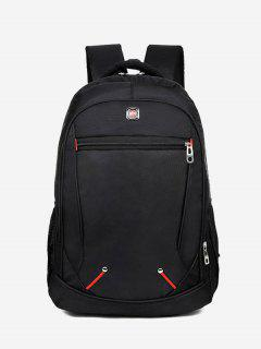 Travel Contrast Stitching Backpack - Black