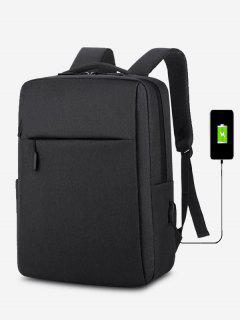 Brief Rectangle Solid Sports Backpack - Black