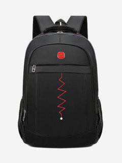 Zigzag Pattern Notebook Travel Backpack - Black