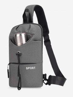 Sport Zipper Solid Chest Bag - Gray