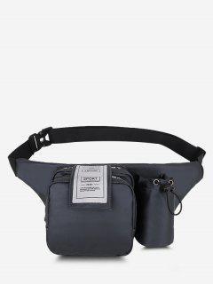 Multi-functional Pockets Letter Label Chest Bag - Gray