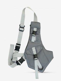 Irregular Buckles Pockets Chest Bag - Dark Gray