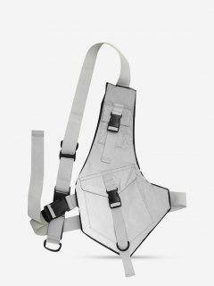 Irregular Buckles Reflective Chest Bag - Gray