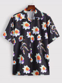 Flower Astronaut Print Short Sleeve Shirt - Black M