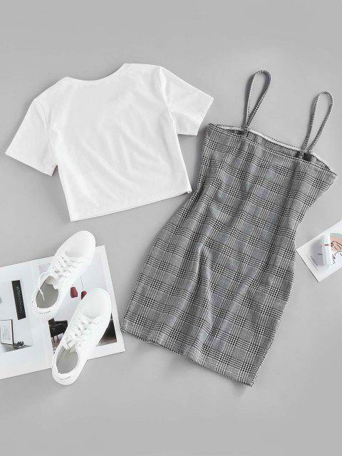 new ZAFUL Houndstooth Glen Check Cami Bodycon with Crop T Shirt - MULTI-A L Mobile