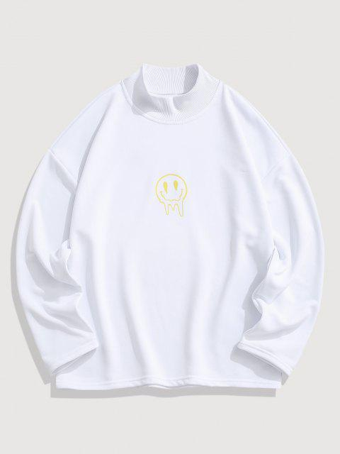 Glückliches Gesicht Blumendruck Fallschulter Sweatshirt - Weiß M Mobile