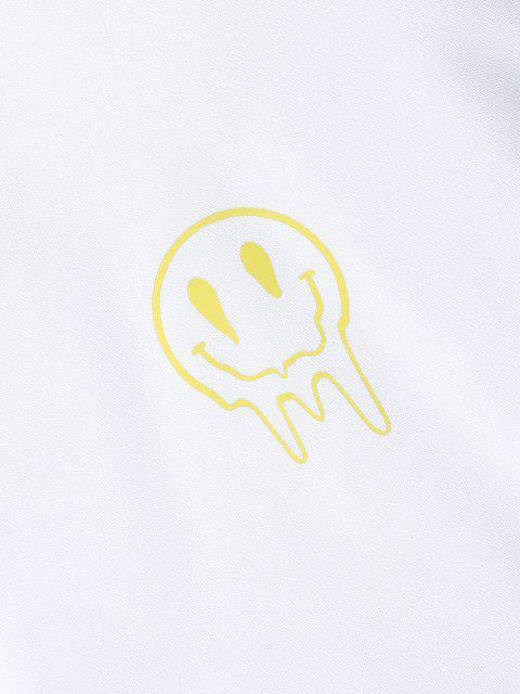 Glückliches Gesicht Blumendruck Fallschulter Sweatshirt - Weiß XL Mobile