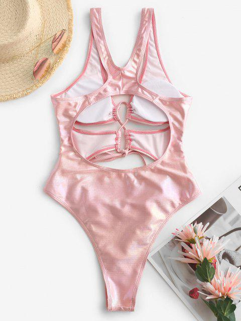outfit ZAFUL Glitter Cutout Disco Underboob Racerback One-piece Swimsuit - LIGHT PINK S Mobile