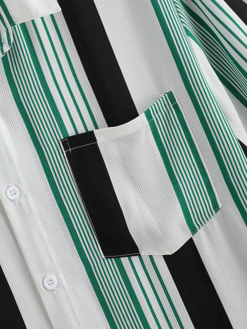 affordable Contrast Stripes Pocket Patch Shirt - WHITE S Mobile