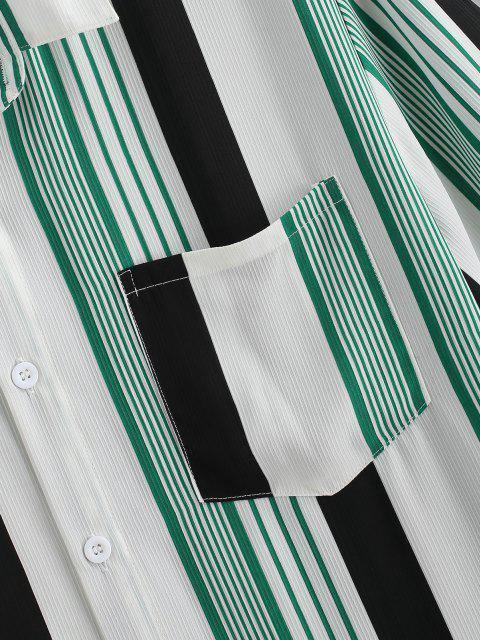 womens Contrast Stripes Pocket Patch Shirt - WHITE M Mobile
